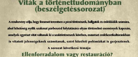 A Magyar Történelmi Társulat előadássorozata- Ellenforradalom vagy restauráció? A Tanácsköztársaság utáni évek Magyarországa